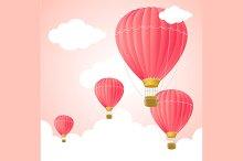 Pink Hot Air Card. Vector