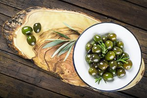 A plate with green olives