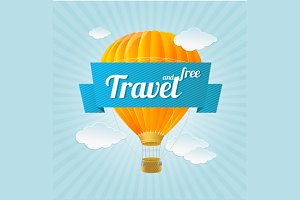 Air Ballon, Travel Concept. Vector