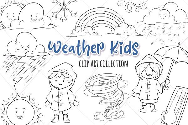Weather Kids Digital Stamps