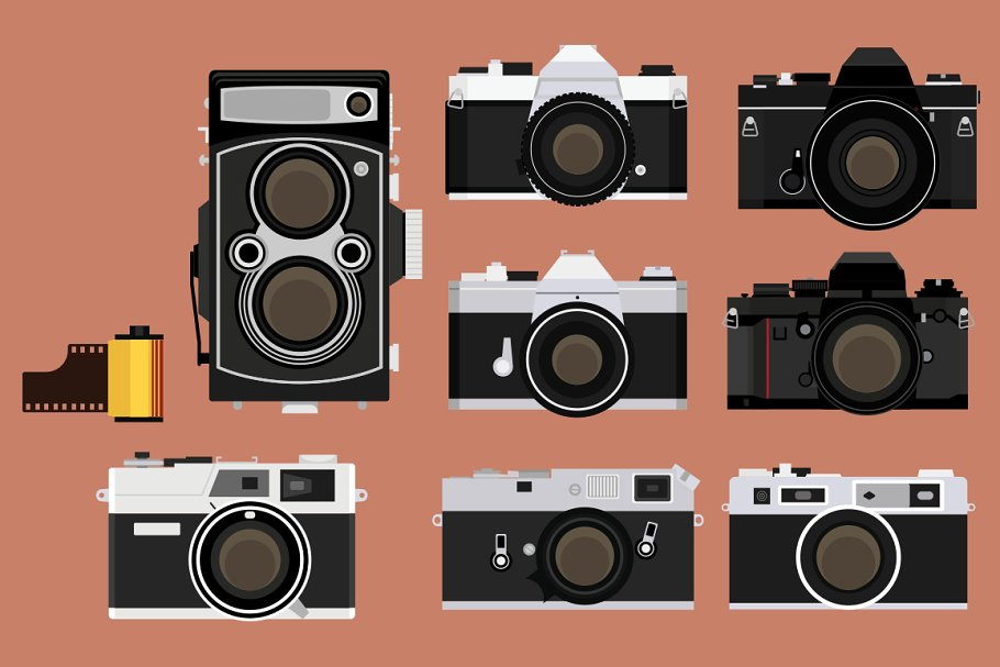 Camera Vintage Vector Png : Vintage camera bundle ~ illustrations ~ creative market