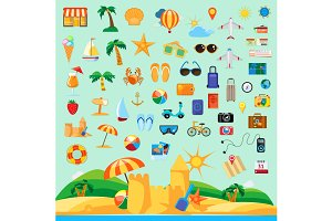 Beach holiday icons