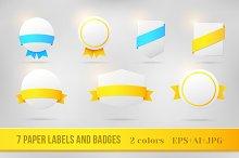 Award badges with ribbons