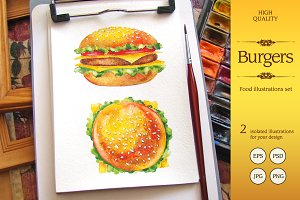 Watercolor Hamburger illustrations