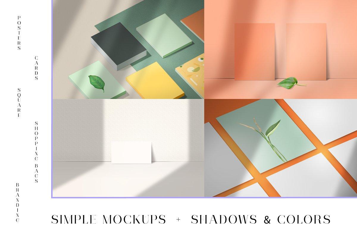Simple editable mockups + shadows