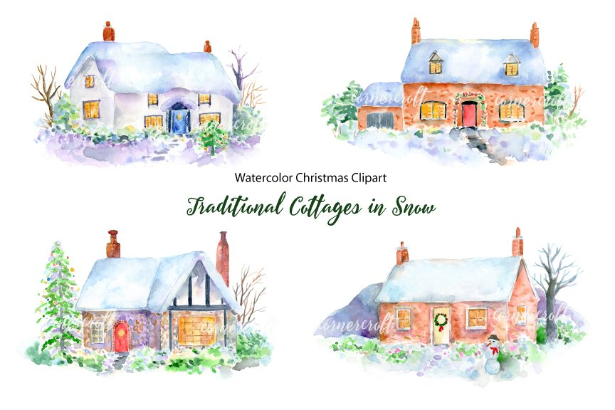 Christmas Cottage In Snow Clipart Illustrations Creative Market