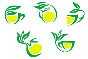 Tea cups symbols with lemon and gree