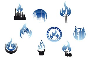 Gas industry symbols and icons