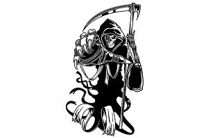 Black death with scythe