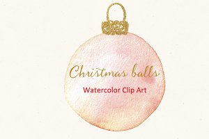 Christmas balls. Watercolor Clipart