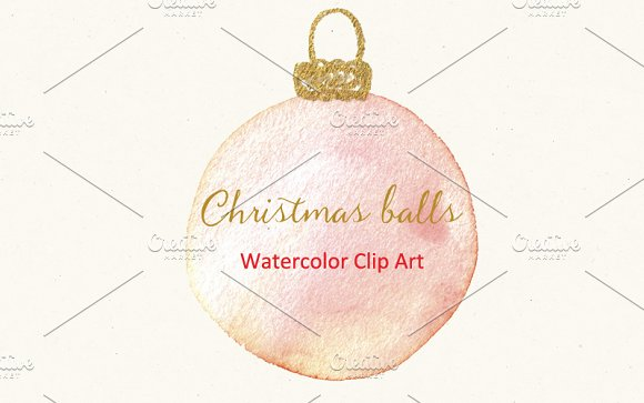 Christmas balls. Watercolor Clipart - Illustrations