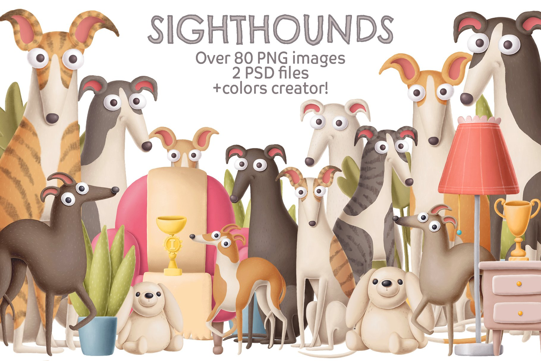 Whippet dogs collection | Pre-Designed Photoshop Graphics ~ Creative Market