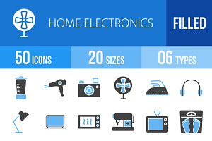 50 Home Electronics Blue&Black Icons