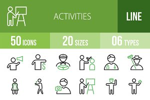 50 Activities Green & Black Icons