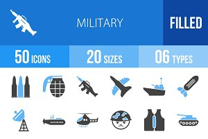 50 Military Blue & Black Icons