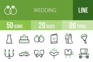 50 Wedding Green & Black Icons