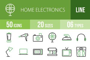 50 Home Electronics Green&Black Icon