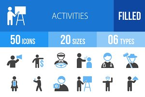 50 Activities Blue & Black Icons