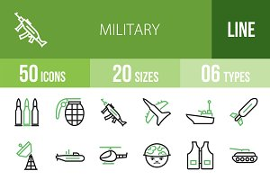 50 Military Green & Black Icons