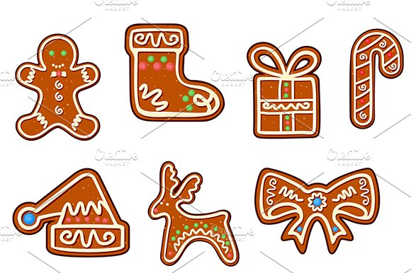 Gingerbread holiday objects