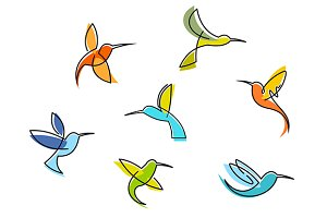 Abstract colorful hummingbirds
