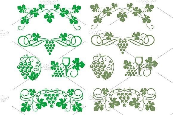 Grape swirls and elements in Graphics
