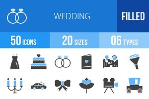 50 Wedding Blue & Black Icons