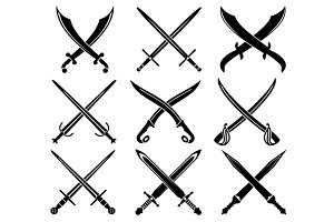 Set of heraldic swords and sabres