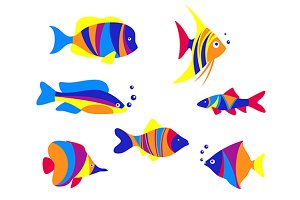 Abstract colorful aquarium fishes