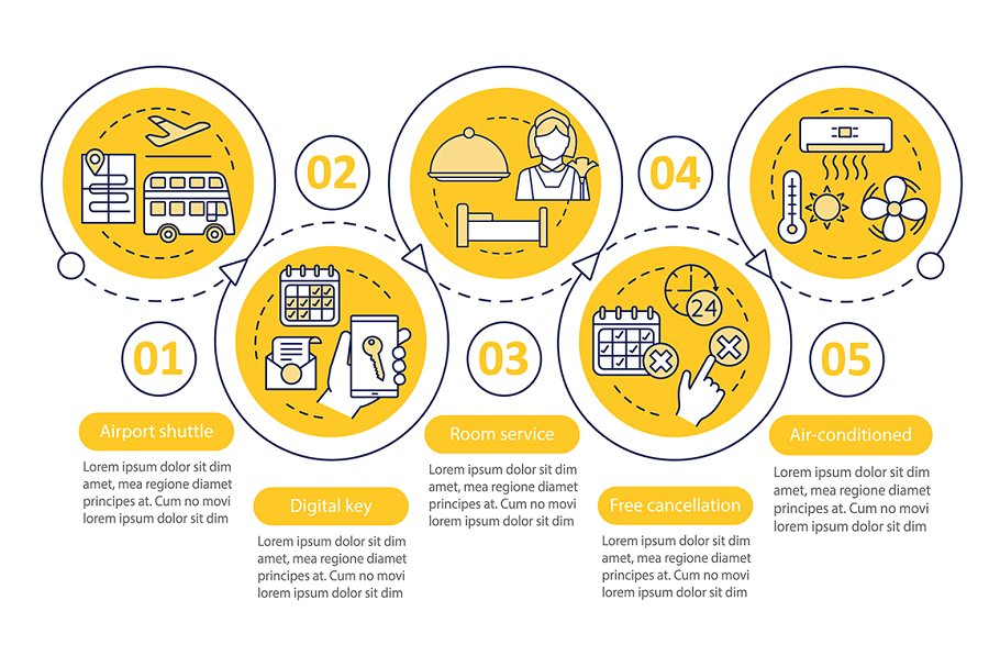 Hotel services vector infographic