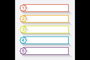 Set of 5 numbered paper style header