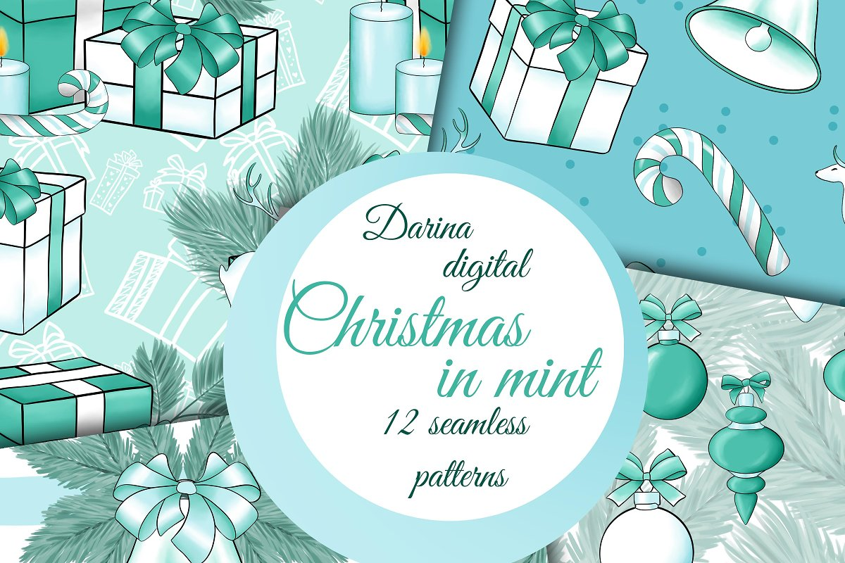 Christmas in mint pattern