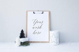 Christmassy clipboard mock up - 8485