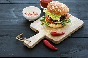 Homemade burger with tomato sauce