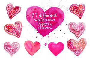 Watercolor hearts set