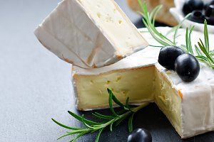 French soft cheese brie with olives