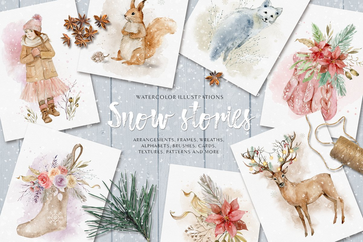 Snow stories - watercolor collection