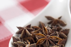 Star anise on tablecloth