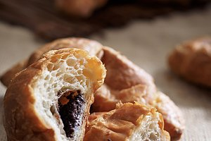 Tasty croissant with chocolate