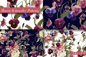 Seamless floral patterns with pansy