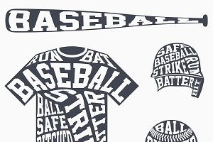 Baseball symbols with typography