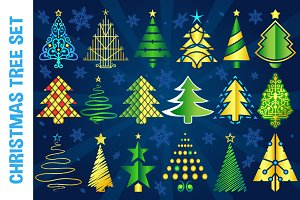 Christmas Vector Tree Set