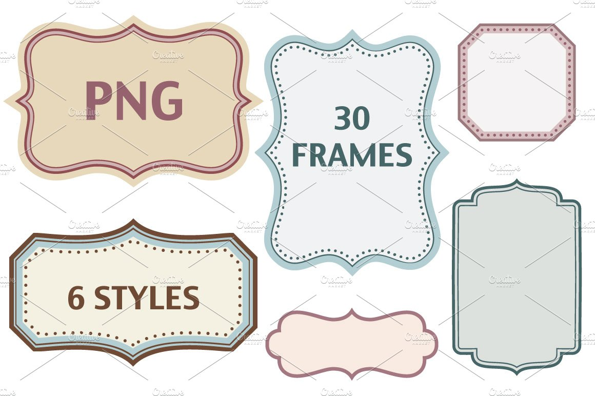 30 color frames in 6 styles - PNG ~ Graphic Objects ~ Creative Market