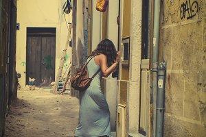 Marginal woman in a slum