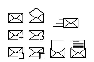 Set of envelope outline icons