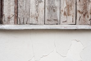 Old white wall and wooden details