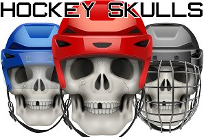 Skulls with Ice Hockey Helmet