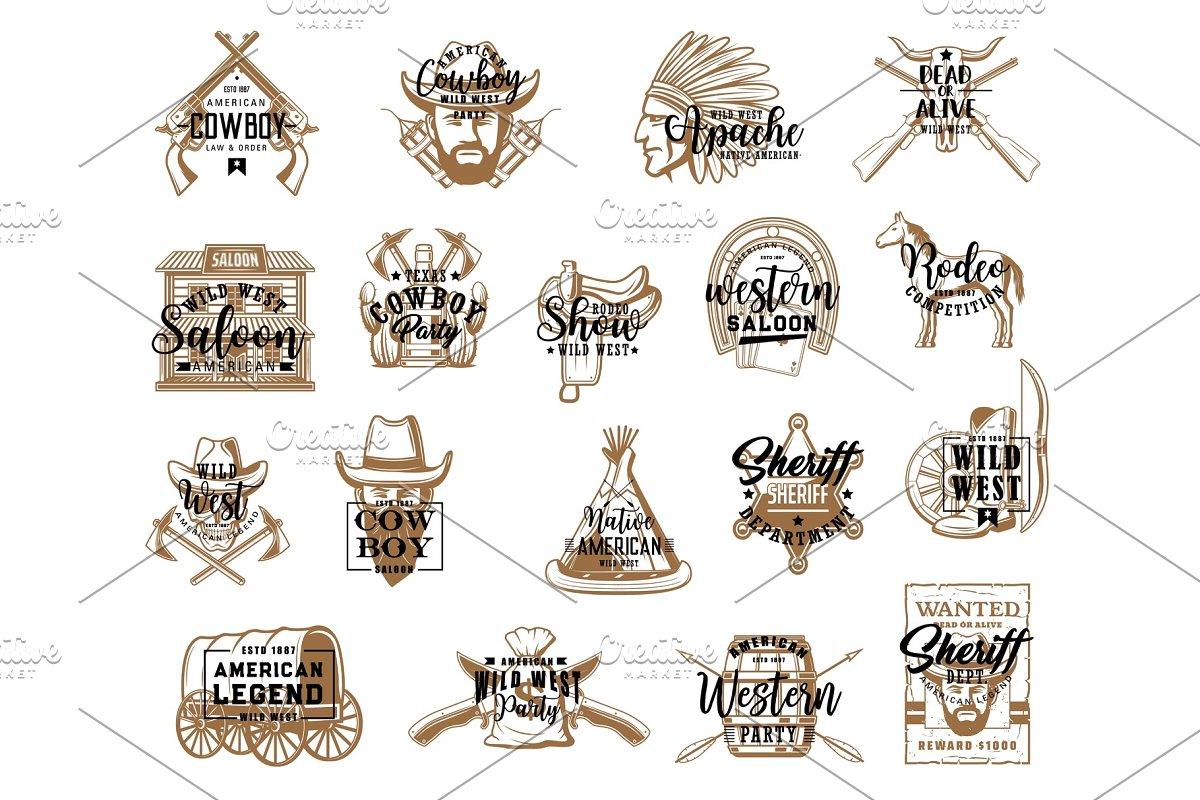 Western symbols  Wild west icons ~ Illustrations ~ Creative