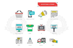 Line icons of advertising marketing