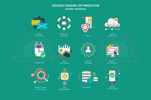 Seo internet marketing icons